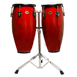 Mano MP1601-RW 10 and 11 Inch Double Conga Set in Red Wine with Stand