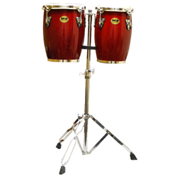 Mano MP1690-RW 9 and 10 Inch Double Mini Conga Set in Red Wood with Stand