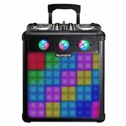Numark PARTYMIXPRO Bluetooth Enabled DJ Controller with Built-In Light Show & Portable Rechargeable Battery Operated Speaker