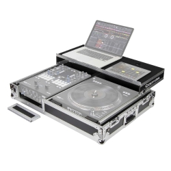 Odyssey FZGS1RA1272W Flight Zone Glide Style Series Compact DJ Coffin With Wheels for One Rane 72 Mixer and One Rane 12 Turntable Controller