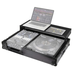 Odyssey FZGS1RA1272WBL Flight Zone Glide Style Series Compact DJ Coffin With Wheels for One Rane 72 Mixer and One Rane 12 Turntable Controller-All Black