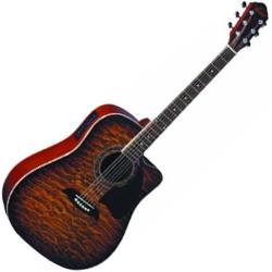 Oscar Schmidt OG2CEQHS 6 String Acoustic Electric Guitar in Quilted Honey