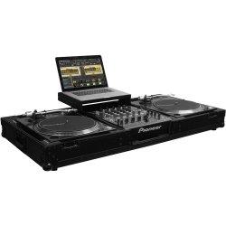 Odyssey FFXGSLBM12WBL - Flight FX Low Profile Glide Style Universal Turntable DJ Coffin w/Coasters Black