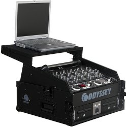Odyssey FZGS1002BL - Black Label 10 Space Slanted 2 Space Vertical Glide Style Combo Rack Case