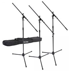 On Stage Stands MSP7703 3 Euroboom Mic Stands with Bag