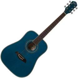 Oscar Schmidt OG1TBL 3/4 Size Acoustic RH 6 Str. Guitar - Trans Blue (discontinued clearance)
