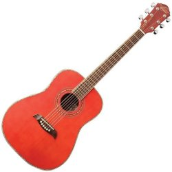 Oscar Schmidt OG1TR 3/4 Size Acoustic RH 6 Str. Guitar - Trans Red (Discontinued Clearance)