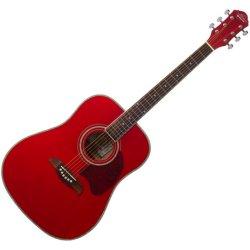 Oscar Schmidt OG2TR Dreadnought Acoustic RH 6 Str. Guitar - Trans Red (discontinued clearance)
