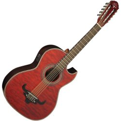 Oscar Schmidt OH32SEQTR A/E Bajo Quinto in Transparent Red with Deluxe Gig Bag