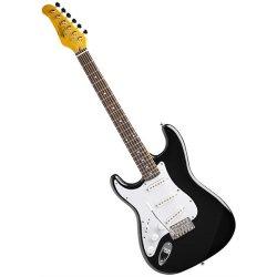 Oscar Schmidt OS-300-LHB Left Handed Solid Body Strat-Style Electric Guitar - Black
