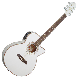Oscar Schmidt OG10CEWH 6 String Acoustic Electric Guitar in White (discontinued clearance)