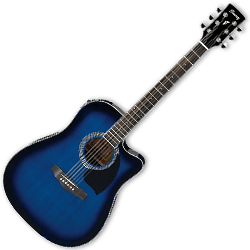 Ibanez PF15ECE-TBS-d PF Series 6 String Acoustic Electric Guitar in Transparent Blue Sunburst High Gloss (discontinued clearance)