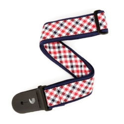 Planet Waves T20S1500 Gingham Woven Guitar Strap in Red and Navy