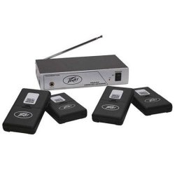 Peavey 03010650 Assisted Listening System 75.9 MHz Transmitter & 4 Receivers with Earbuds