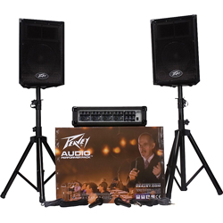 Peavey AUDIO PERFORMER PACK PA System with 2xPVi10 Speakers 2xPVi100 Microphones and PVi 4B Mixer