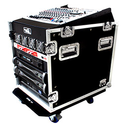 Road Ready RR12M12UC 12U Slant Mixer Rack 12U Vertical Rack System with Casters