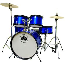 Rhythm Band RBJR5-SBL Sparkle Blue 5 Piece Junior Acoustic Drum Kit