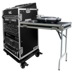 Road Ready RR11M16UCT 11U Slant Rack, 16U Vertical Rack with Side Table
