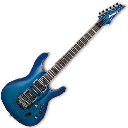 Ibanez S670QM-SPB-d S Model 6 String Electric Guitar in Sapphire Blue (discontinued clearance)