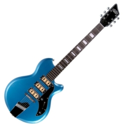 Supro 2030BM Island Series Hampton 6 String RH Electric Guitar in Blue Metallic-Discontinued Clearance