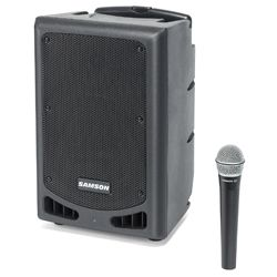 "Samson XP108W-03 All in One 8"" Rechargeable Battery Operated PA Bluetooth Speaker with Mic and Built in Mixer"