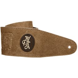 Seagull 037339 Guitar Strap - Tan Western Suede with Patch Logo