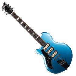 Supro 2030LBM - Island Series Hampton - 6 String Electric Guitar Ocean Blue Metallic – Left Handed