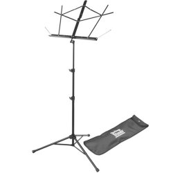 On Stage Stands SM7222BB Tubular Tripod Base Sheet Music Stand (Black, with Bag)