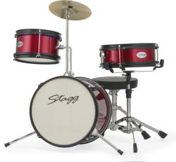 "Stagg TIMJR3-12RD 3 Piece Jr Drum Set 12"" Bass Drum in Red"