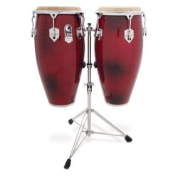 Toca 3100CF Elite Pro Wood Conga Set with Double Stand-Crimson Fade