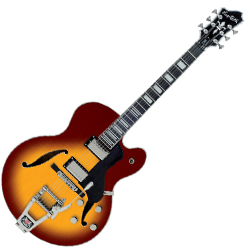 Hagstrom TREHJ500-VSB 6 String Hollow Body Tremar HJ 500 Model Electric Guitar in Vintage Sunburst (discontinued clearance)