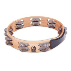 Toca T1010-A - Acacia Wood Double Row Tambourine 10 in.