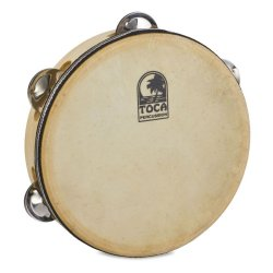 "Toca T1075H Wood Tambourine 7-1/2"" w/Head"