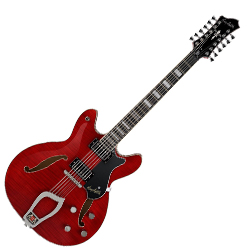 Hagstrom VIDLX12-WCT 12 String Viking Deluxe Model Electric Guitar in Wild Cherry Transparent