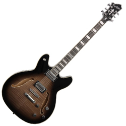 Hagstrom VIDLXBARI-CBB 6 String Baritone Viking Deluxe Model Electric Guitar in Cosmic Black Burst