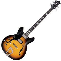 Hagstrom VIKB-L-TSB 4 String Left Handed Viking Model Electric Bass in Tobacco Sunburst