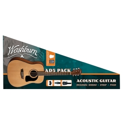 Washburn AD5CEPPACK-A Apprentice 6 String RH Natural Dreadnought Acoustic Guitar Pack with Gigbag and Accessories