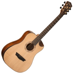 Washburn WCGM15SK-D Comfort Series G-Mini Travel 6-string RH Cutaway Acoustic Guitar-Natural Satin Finish with Gigbag