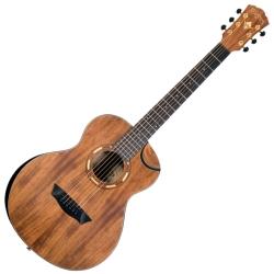 Washburn WCGM55K-D Comfort Series G-Mini 55 Koa 6-string RH Cutaway Acoustic Guitar-Natural satin Finish with Gigbag