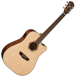 Washburn WLD10SCE-O Woodline Series 6-string RH Dreadnought Cutaway Acoustic Electric Guitar-Natural Gloss Finish