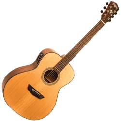 Washburn WLO100SWEK-D Woodline Series Orchestra 6-tring RH Acoustic Electric Guitar-Natural Gloss with Hard Case