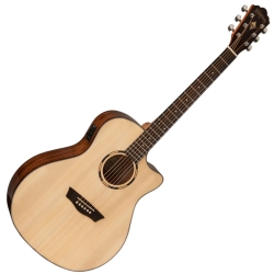 Washburn WLO10SCE-O Woodline Series Orchestra 6-string RH Cutaway Acoustic Electric Guitar-Natural Gloss Finish
