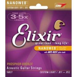 Elixir 16027 Nanoweb custom light 1152 phosphor bronze acoustic guitar strings