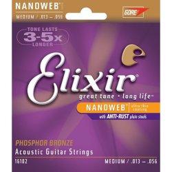 Elixir 16102 Nanoweb custom medium phosphor bronze acoustic guitar strings