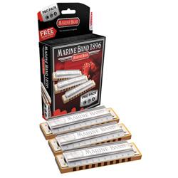 Hohner 3P1896BX Marine Band Harmonica Pro Pack