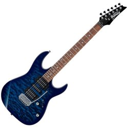 Ibanez GRX70QA-TBB-d Trans Blue Solid Body RH 6 String Electric Guitar (discontinued clearance)  (Prior Year Model)