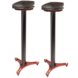 Ultimate Support MS100R Adjustable Professional Column Studio Monitor Stand 'PAIR' in Red
