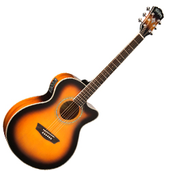 Washburn EA14ATB Mini Jumbo Cutaway 6 String Acoustic Electric Guitar (discontinued clearance