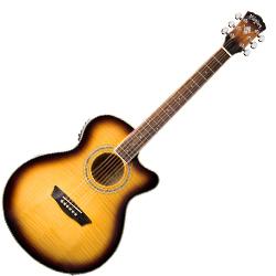 Washburn EA15ATB Mini Jumbo Cutaway 6 String Acoustic Electric Guitar in Flame Maple