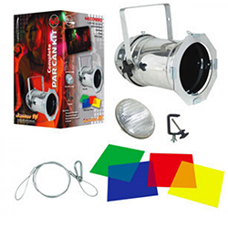 AMERICAN DJ 46-COMBO Par Can KIT in Silver with accessories